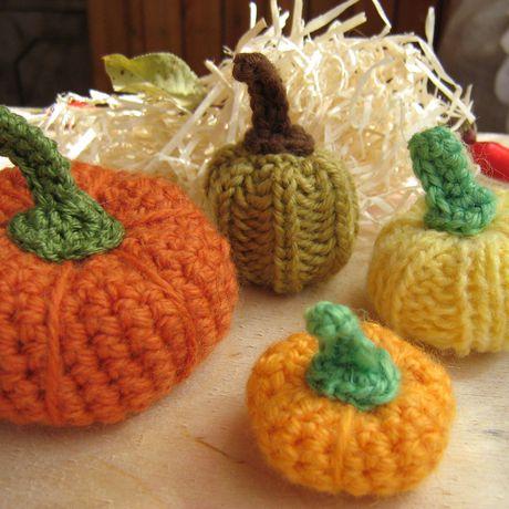 тыквы оранжевый halloween овощи вязание осень подарок
