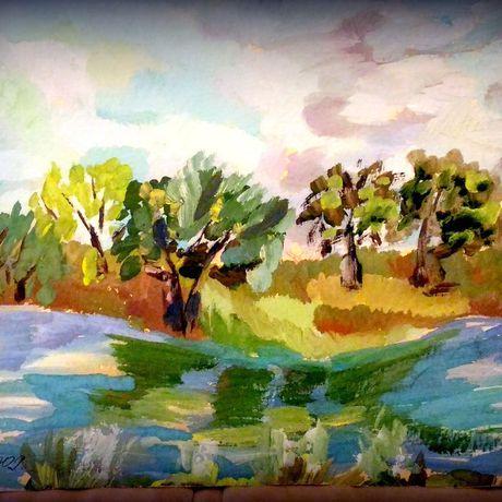 город городской импрессионизм живопись гуашь современная живописьрека картина пейзаж