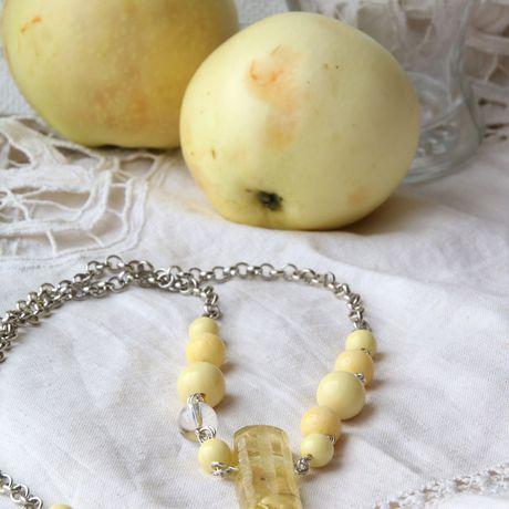 лимонный авторское солнечный желтый ожерелье прозрачный сухоцветы