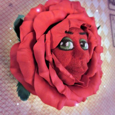 фоамиран алиса стране чудес розы валяние брошь заколка felting