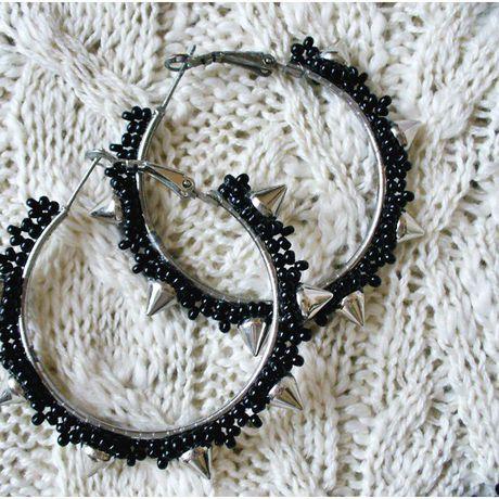 бисер лавкалисицы шипы handmade серьгикольца ручнаяработа черный