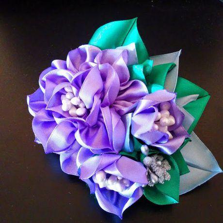 бутоньерка ручная брошь свадьба лент работа украшения цветы