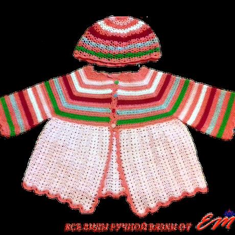 одежда комплект шапочка кофточка назаказ длямалышей наголову туника крючком вязаниекрючком панамка длядетей