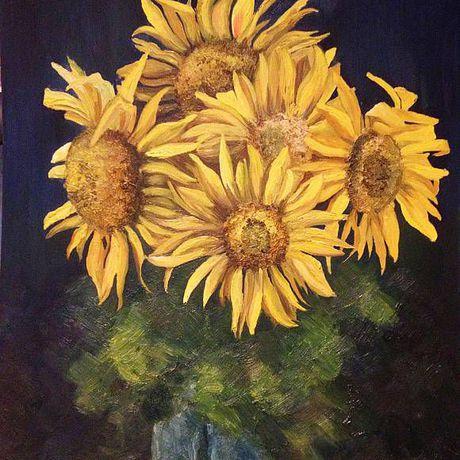 подсолнухи краски холст живопись творчество искусство цветы ночь масло картина подарок