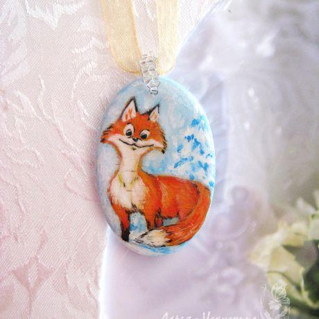 лисичка рыжий handmade подвеска лиса ручнаяработа роспись кулон снег голубой зима