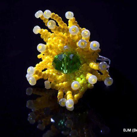 безразмерное бисер желтый кольцо зеленый