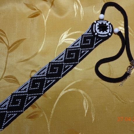 черный украшение бисер женское галстук