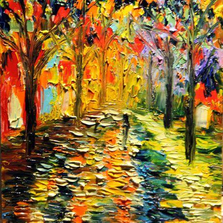 абстракция парк холст живопись ночь осень мастихин масло пейзаж