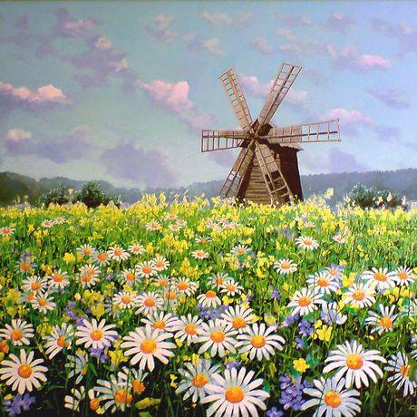 маслом мельница рисунки современное искусство картина