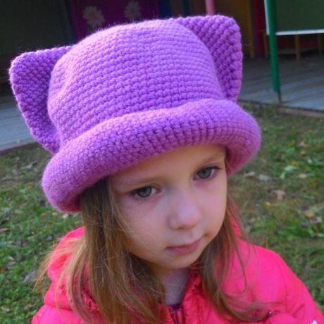 одежда вязание шапкашляпа детская девочки девочек спицами для осенняя шапка необычная