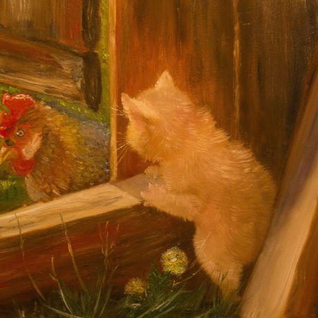 интерьера украшение кот маслом живопись петух картина сюжетная