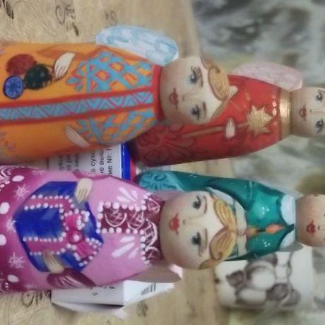 народная поталь игрушка дерево блестки сувенир матрешка лак подарок