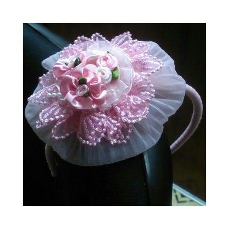 розовый капрон обруч девочка ободок кружево атлас