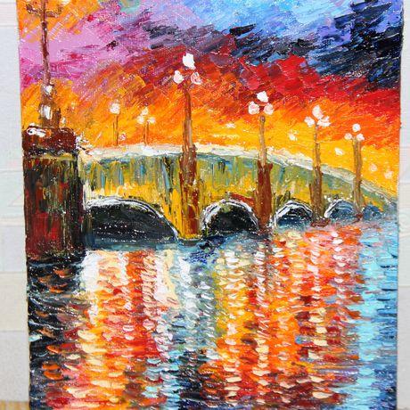 мостик абстракция холст живопись река мастихин масло пейзаж