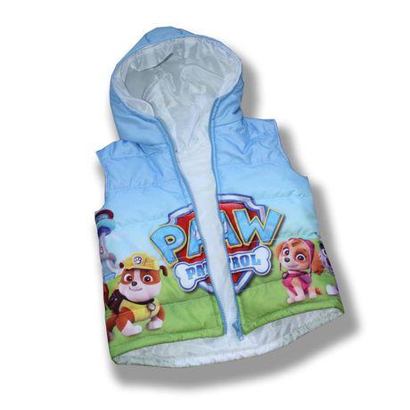 голубая куртка жилет детская ручная принт мальчику сублимация безрукавка работа щенячий патруль стеганный подарок