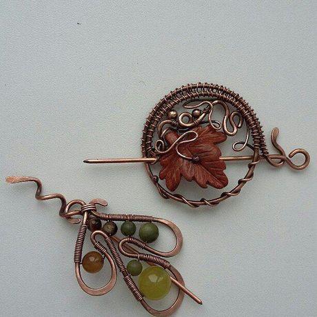 cvetkova брошь handmade ручная работа wirewrap