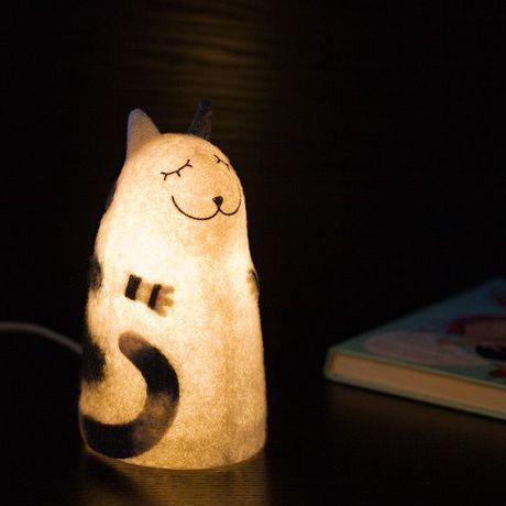 кот валяный полосатый ночник кошка войлок серо-белый светильник