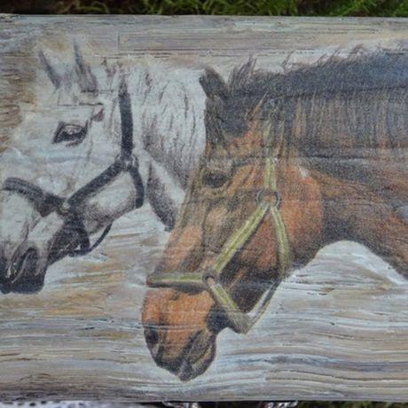 старинная старину дерева старого работы ручной шкатулка под лошади имитация