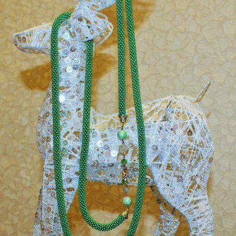 бисер жгут бисероплетение ручнаяработа лариат чешскийбисер зеленый