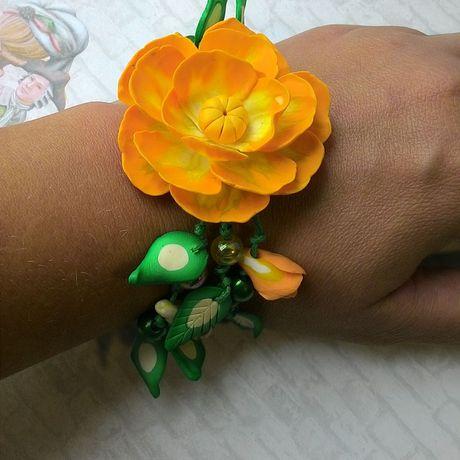 желтыецветы серьги подарки летниеплатья ручнаяработа браслет