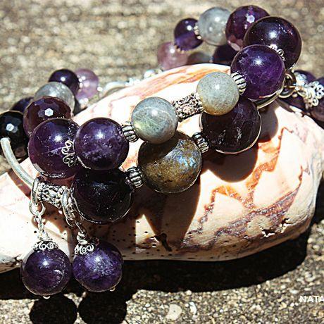 лабрадор украшение браслет натуральные аметист серебро камни подарок