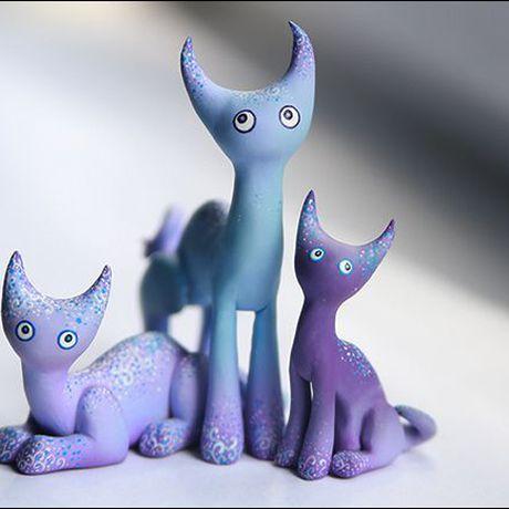 котики акрил пластик глюкокошки кот подарки кошка sculpey сиреневый голубой