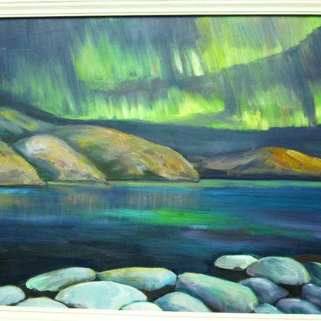 картинамаслом северное север ночь море окена глубина снег берег горы сияние