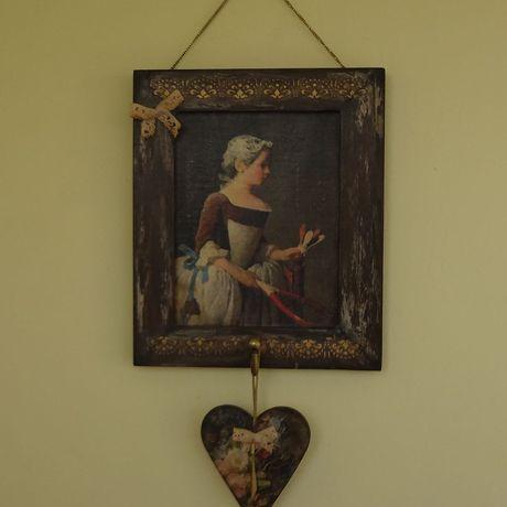 старинная старину старая воланом под женщине панно ключница девочка с картина подарок