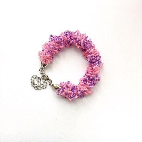 украшение бисер браслет handmade бижутерия крючком розовый