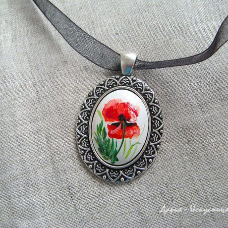 украшения подарки handmade маки ручная девушкам роспись работа кулон