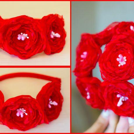 обруч шифон красивый ободок свадебный цветы красный атлас