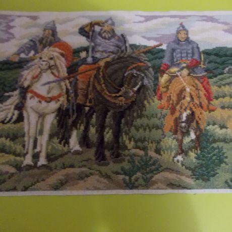 вышивка крестом в репродукция три богатырякартина картина подарок