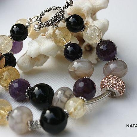 украшение браслет цитрин агат натуральные аметист серебро камни подарок