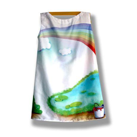 фотопринт сублимация девочки легкое модное летнее радуга лёгкое невесомое сатин шёлковое шелковое оригинальное эксклюзивное принт яркое стильное краски детское подарки авторские рисунок платье
