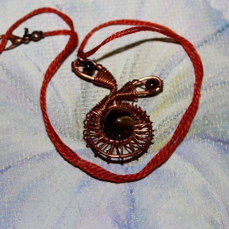 медь тигровыйглаз кручение ручнаяработа кулон гранат камни подарок