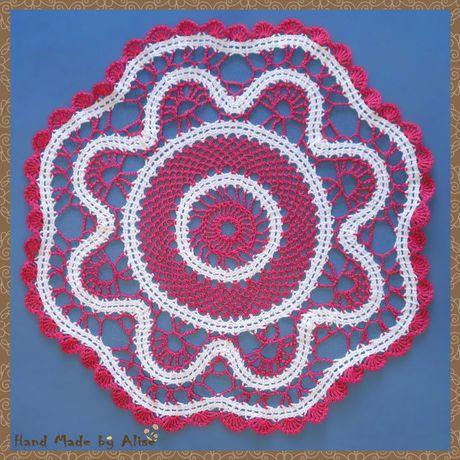 хлопок салфетка брюггское вязание кружево пряжа белый элементы крючком розовый