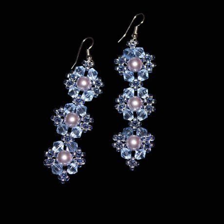 лавандовый бусины украшения серьги бисер синий бижутерия сваровски голубой жемчуг хрусталь