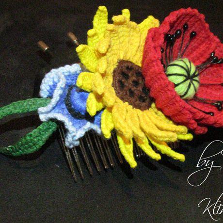 ручнаяработа украшение вязаниекрючком гребеньдляволос