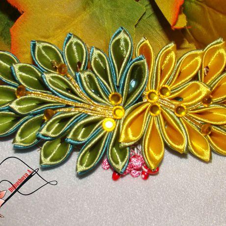 лентыатласные канзаши handmade заколки ручнаяработа