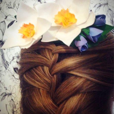 урашение дляволос гребеньдляволос фоамиран аксессуары заколка гребень нарцисс цветы