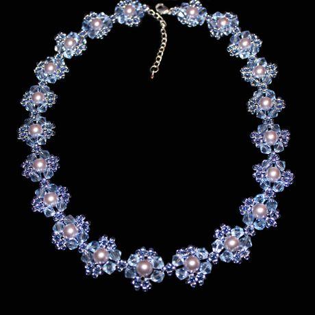 лавандовый бусины украшения бисер синий бижутерия колье ожерелье прозрачный голубой жемчуг хрусталь