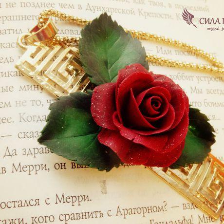 кулон аксессуар силагрез полимернаяглина античность рукоделие бижутерия бордовый роза украшение подарок