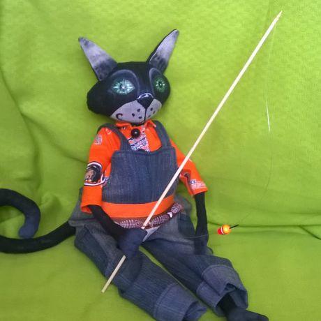 рыбак кот кукла авторская интерьерная работа