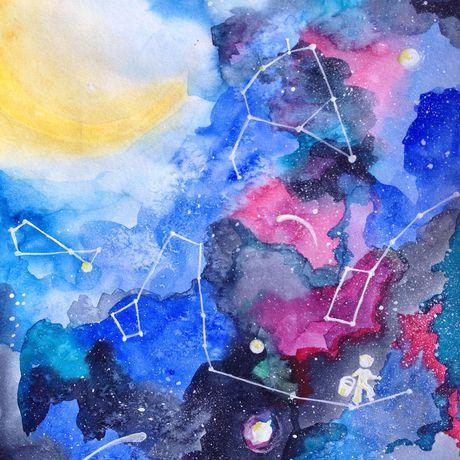 созвездия небо космос акварель открытка