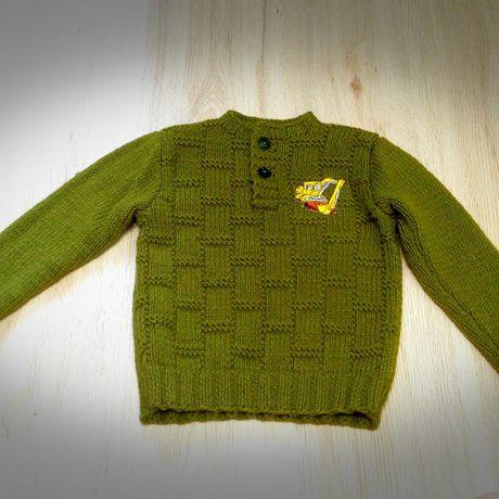 одежда вязание теплый длямальчика экскаватор дляребенка спицами шерсть хаки акрил ручнаяработа джемпер дети