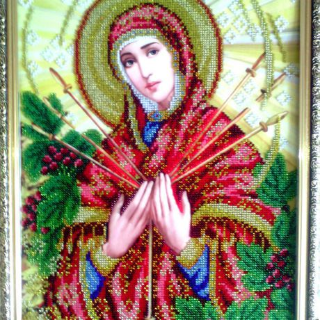 вышивка богородица иконы чешский семистрельная икона женщине бисер девушке бисером картина подарок