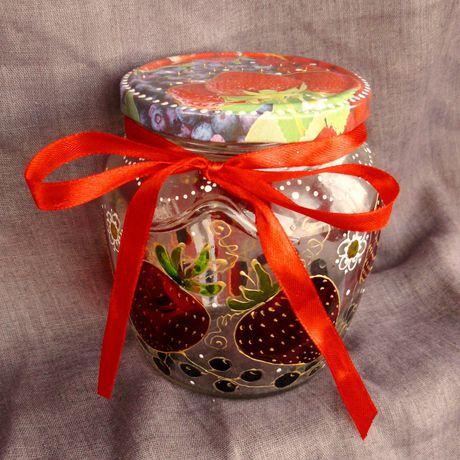 клубника витраж стекла баночки декор банка ягоды