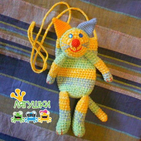 чехолдлясмартфона cat трилягушки gift вязанаясумка softtoybag мягкаяигрушка мур полосатыйдруг forcatlovers мяу meow кот handmade craft