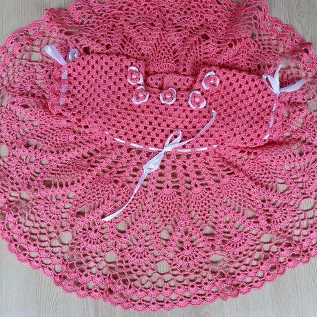 одежда туфельки вязание комплект платье сарафан назаказ длямалышей наголову крючком повязка длядетей пинетки