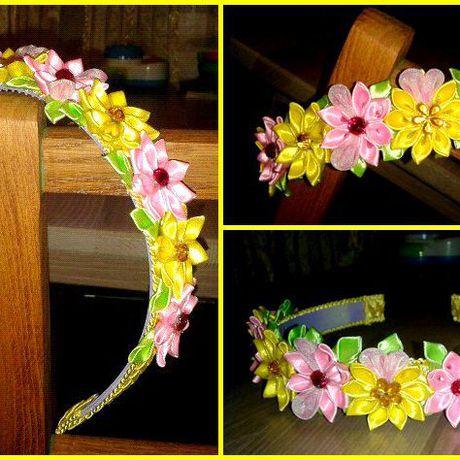летний обруч канзаши ободок красивый детский цветы яркий атлас